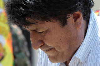 Bolivia's President Evo Morales, who turns 60 today, attends a ceremony at the UMOPAR (Mobile Police Rural Patrol Unit) barracks in Chimore