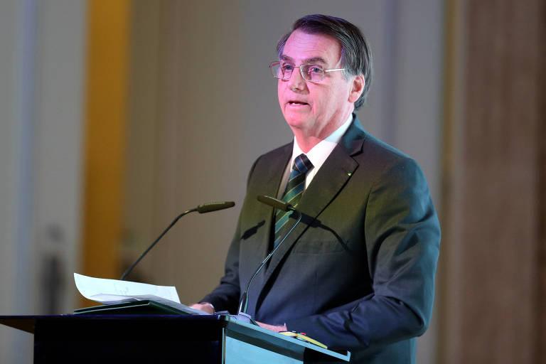 O presidente Jair Bolsonaro discursa em fórum em Abu Dhabi, nos Emirados Árabes Unidos
