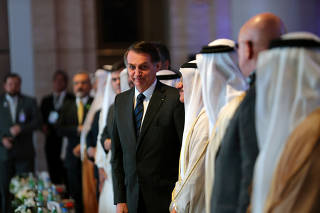 Brazilian President Jair Bolsonaro arrives at the UAE-Brazil Business Forum in Abu Dhabi