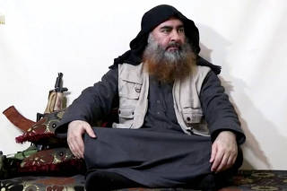 FILE PHOTO: Bearded man with IS leader al-Baghdadi's appearance speaks in this screen grab taken from video