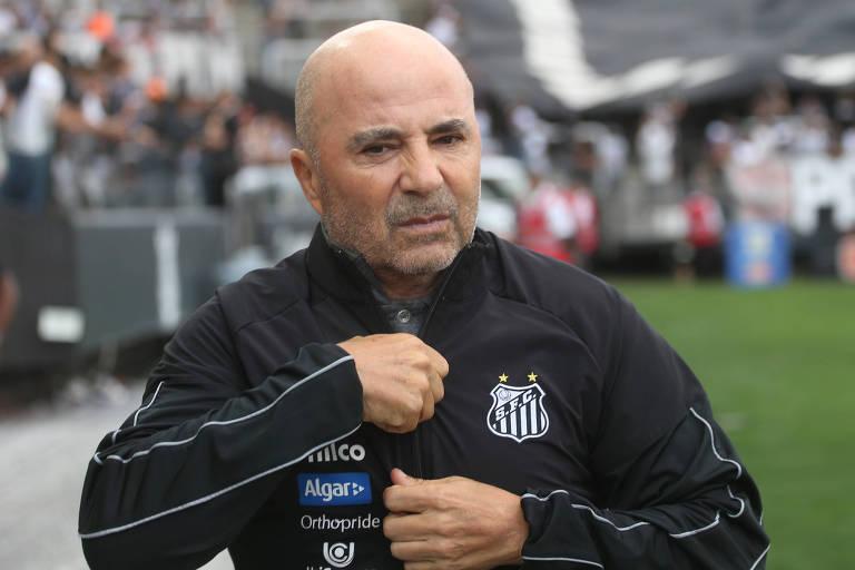 Jorge Sampaoli durante o clássico contra o Corinthians, neste sábado (26), em Itaquera