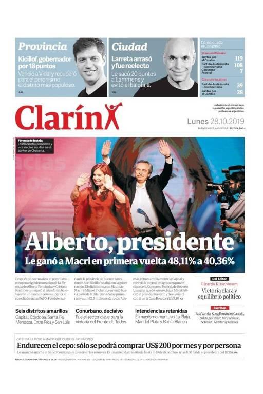 Alberto Fernández nas capas dos jornais argentinos