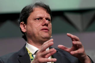 Brazil's Infrastructure Minister Tarcisio Freitas speaks during the Brazil Investment Forum in Sao Paulo