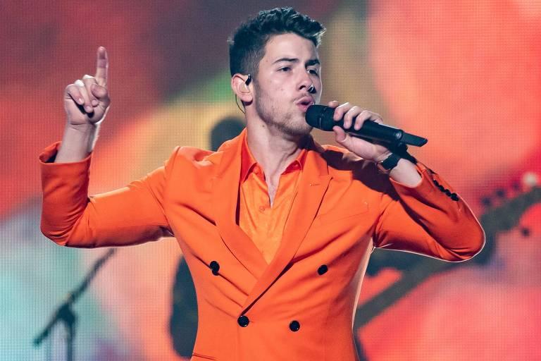 Nick Jonas, membro do grupo Jonas Brothers, durante concerto em San Antonio, Texas