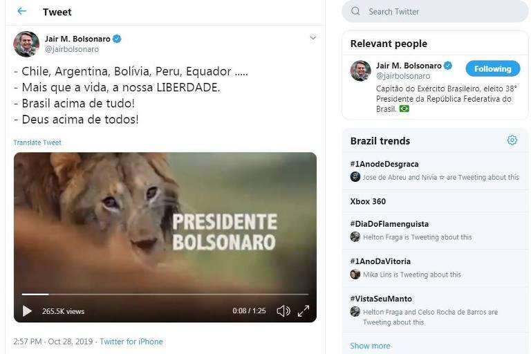Tuíte do presidente Jair Bolsonaro em que ele aparece comparado a um leão atacado por hienas