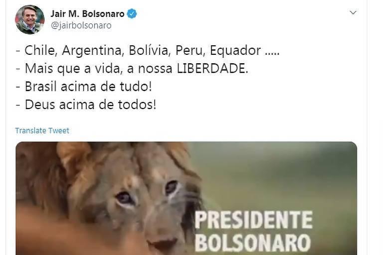 Tuíte do presidente na semana passada, no qual ele se comparou a um leão atacado por hienas