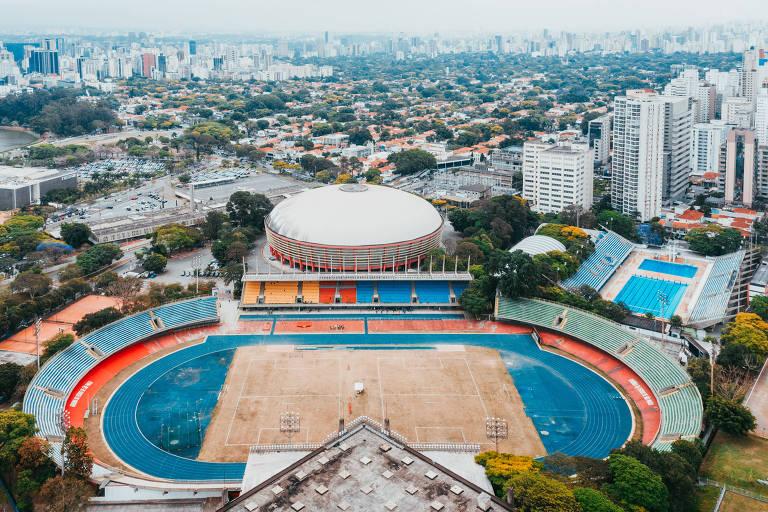 Vista aérea do Conjunto Desportivo Constâncio Vaz Guimarães, onde fica o ginásio do Ibirapuera, em São Paulo