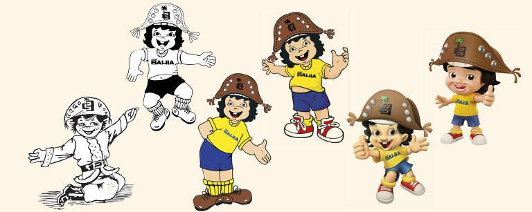 As mudanças no visual de Bahianinho, mascote da Casas Bahia