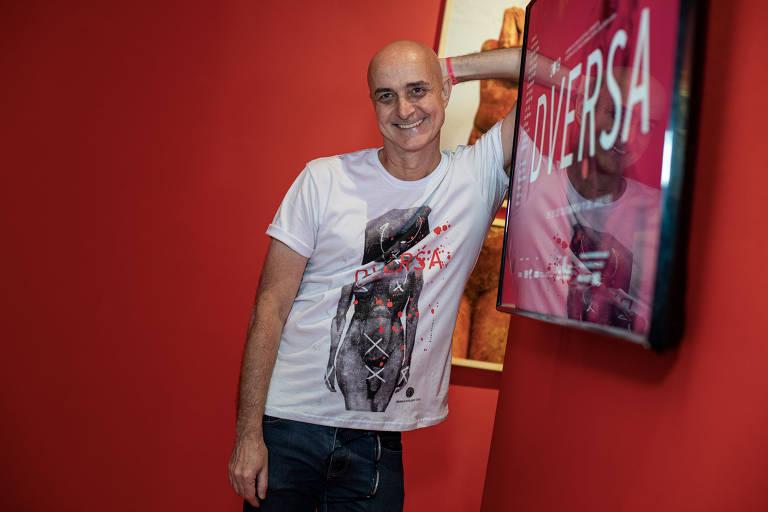 Franco Reinaudo, diretor do Museu da Diversidade Sexual, na abertura da Mostra Diversa, no Museu da Diversidade Sexual. (Foto Marcelo Justo)