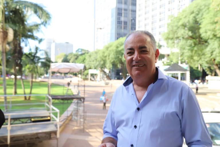 O presidente da CUT, Sergio Nobre, em abril 2019 no Vale do Anhangabaú durante os preparativos do 1º de maio