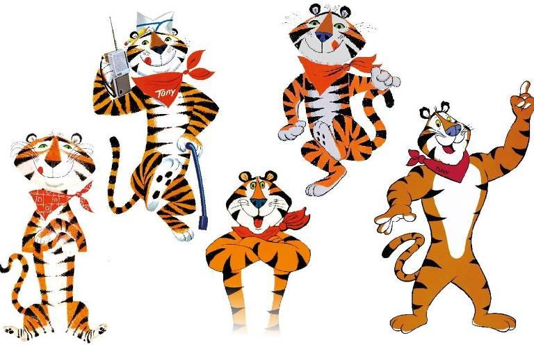 Evolução do Tony, o Tigre, mascote da Sucrilhos