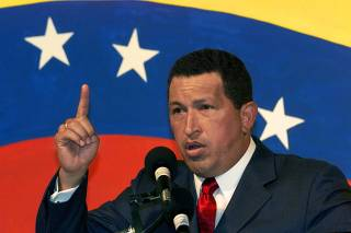 VENEZUELAN PRESIDENT HUGO CHAVEZ OUTLINES HIS PARTY PLATFORM IN CARACAS