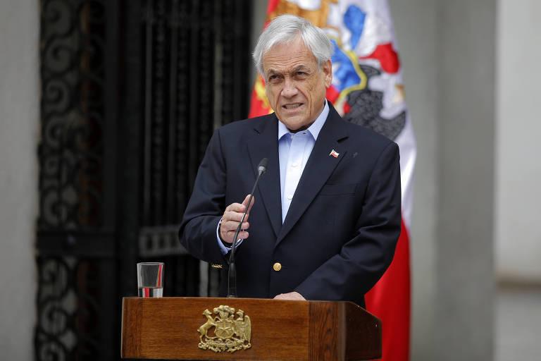 O presidente do Chile, Sebastián Piñera, durante pronunciamento em Santiago