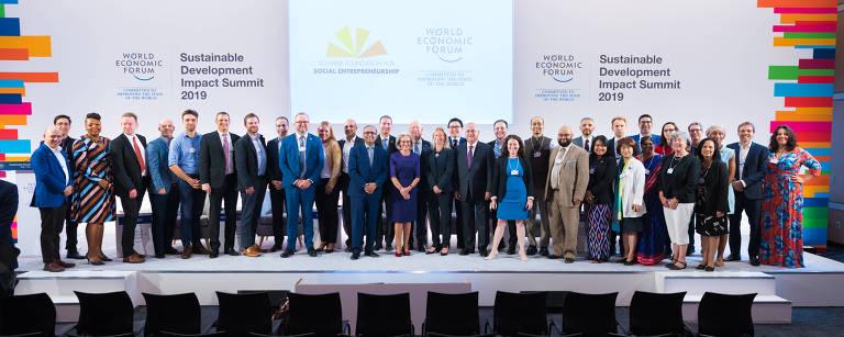 Os premiados pela Fundação Schwab foram apresentados em setembro, durante a Cúpula de Desenvolvimento Sustentável do Fórum Econômico Mundial em Nova York