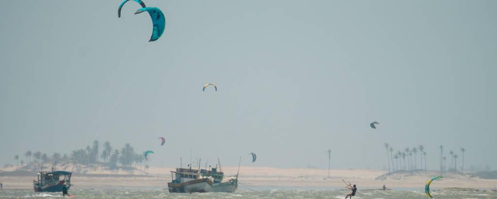 Praia do Preá, em Jericoacoara (CE), que tem ventos ideais para a prática do kitesurfe