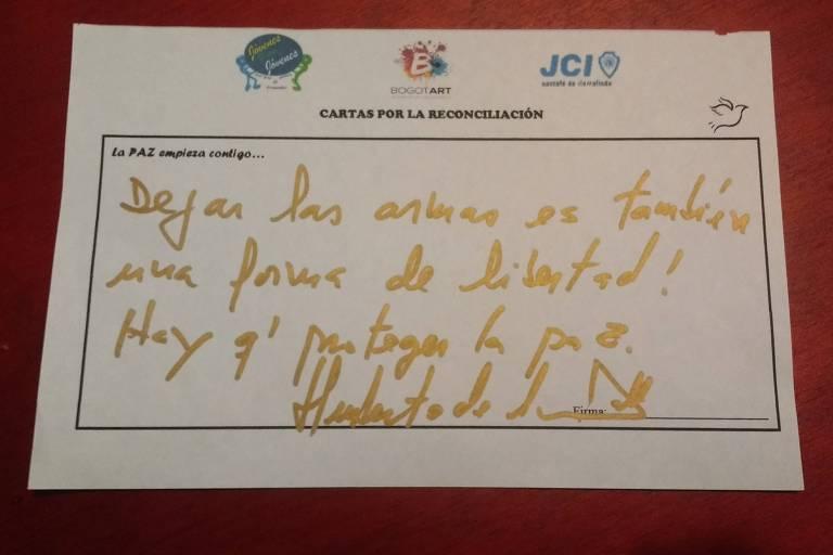 Carta para ex-guerrilheiro das Farc escrita por Humberto Calle, o negociador-chefe do governo colombiano durante as tratativas do acordo de paz com a guerrilha