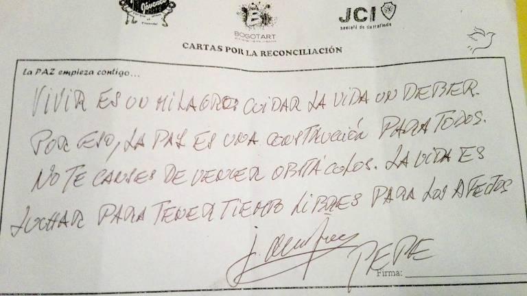 Carta escrita por Pepe Mujica para ex-combatente das Farc