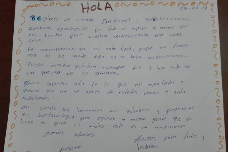 Carta de ex-guerrilheiro das Farc para cidadão colombiano