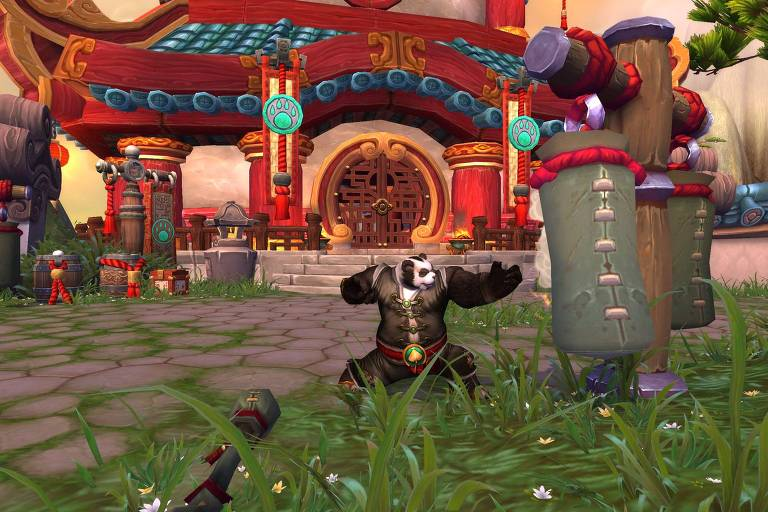"Tela do game para computador ""World of Warcraft: Mists of Pandaria"""