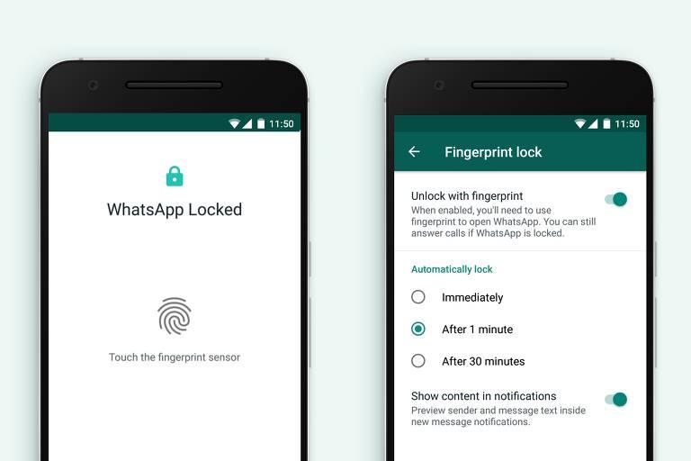 WhatsApp libera desbloqueio por impressão digital