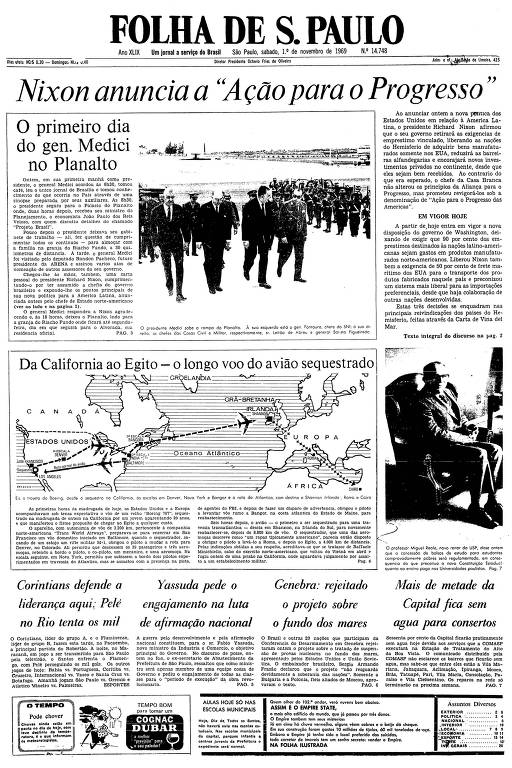 Primeira página da Folha de S.Paulo de 1º de novembro de 1969