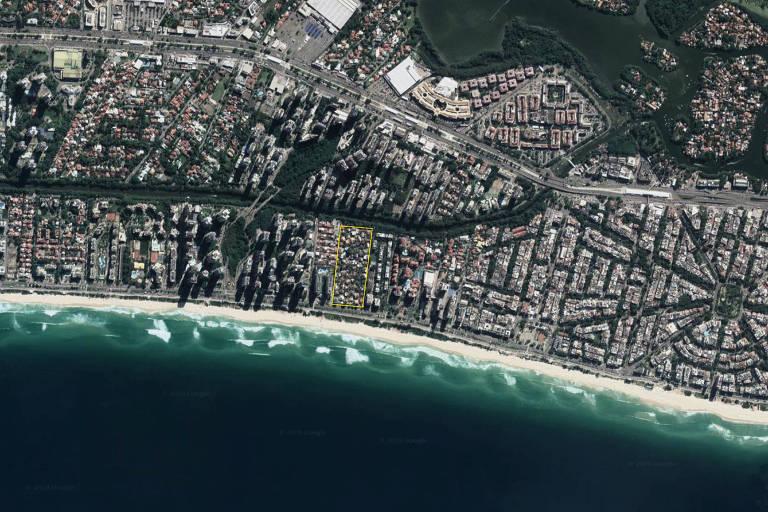 foto de satélite do Condomínio Vivendas da Barra, bairro da Tijuca, no Rio de Janeiro