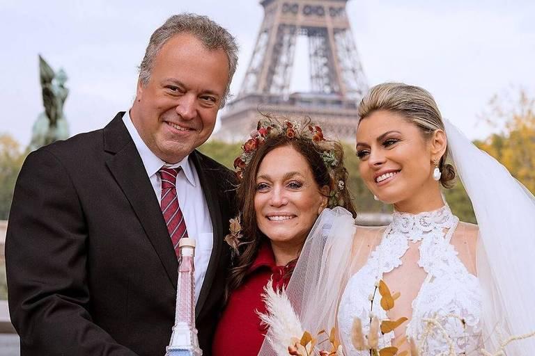 Susana Vieira com o filho, Rodrigo Vieira, e Ketryn Goetten