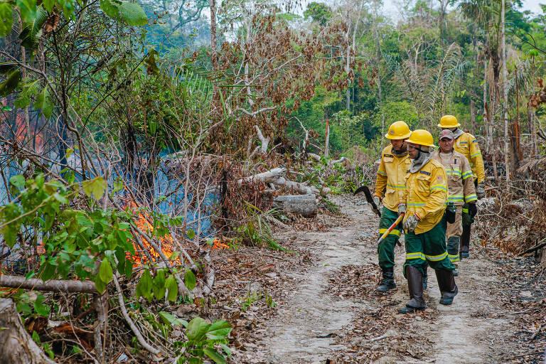 0Brigadistas combatem fogo em região vizinha à Reserva Extrativista Rio Preto Jacundá, no município de Ariquemes, no estado de Rondônia