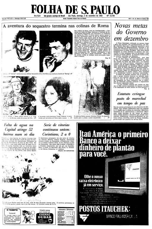 Primeira página da Folha de S.Paulo de 2 de novembro de 1969