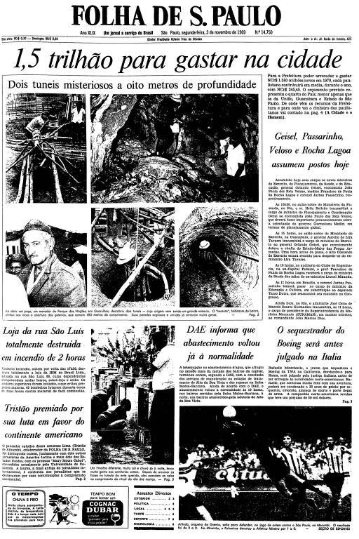 Primeira página da Folha de S.Paulo de 3 de novembro de 1969