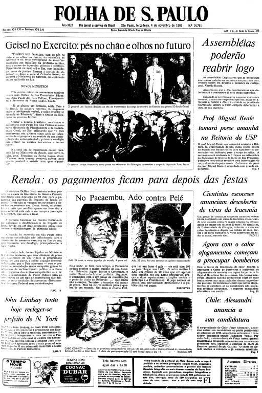 Primeira página da Folha de S.Paulo de 4 de novembro de 1969