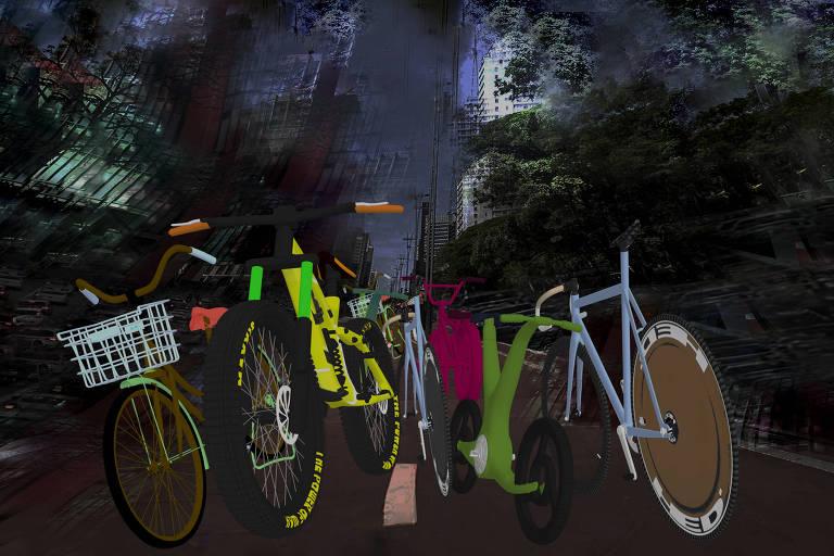Ilustração com bicicletas coloridas em avenida