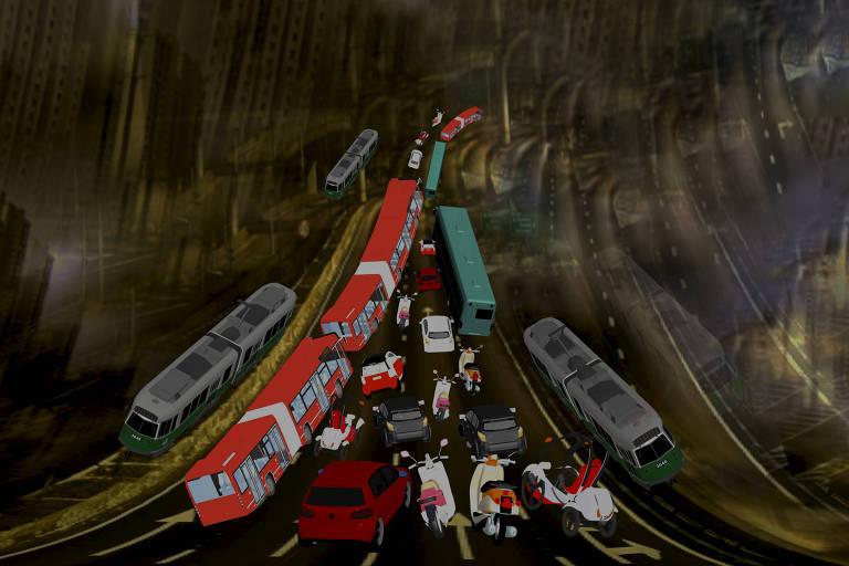 Ilustração de ônibus e carros em avenida