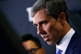 FILE PHOTO: Former Rep. Beto O'Rourke talks to reporters in the Spin Room after the fourth Democratic U.S. 2020 presidential election debate at Otterbein University  in Westerville, Ohio