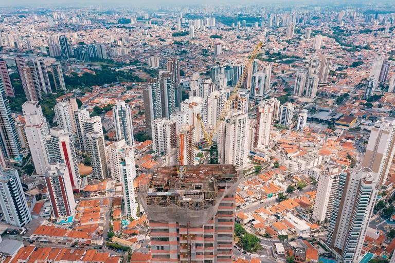 Região do Tatuapé, na zona leste de São Paulo, vista do alto