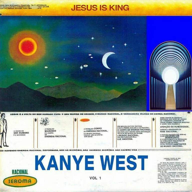 Montagem com as capas dos discos 'Racional', de Tim Maia, e 'Jesus is King', de Kanye West