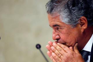 Judge Marco Aurelio de Mello reacts durign a session of the Supreme Court in Brasilia