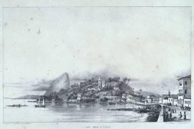 'A Glória Tomada da Estrada', gravura do suíço Louis Buvelot que faz parte do álbum 'Rio de Janeiro Pitoresco'