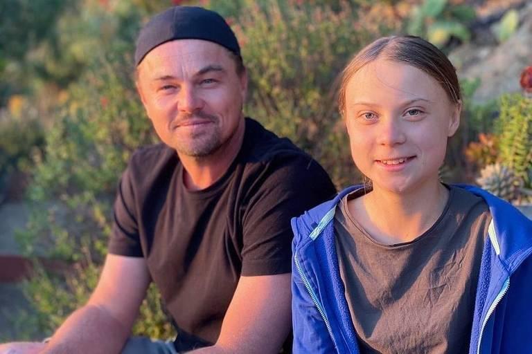 Leonardo Dicaprio com a ativista ambiental Greta Thunberg