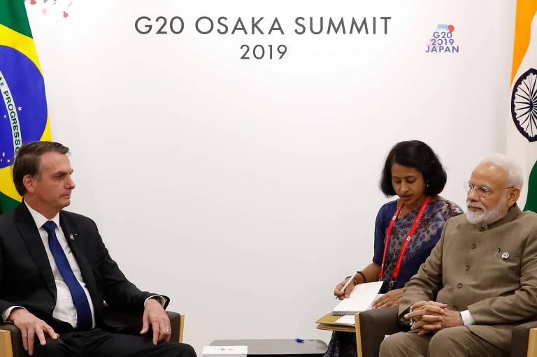 O presidente Jair Bolsonaro durante encontro bilateral com o premiê da Índia, Narendra Modi, durante o G20, em Osaka