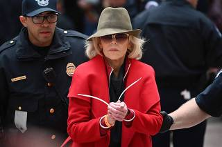 Jane Fonda  joins activists holding climate change rally at the US Capitol