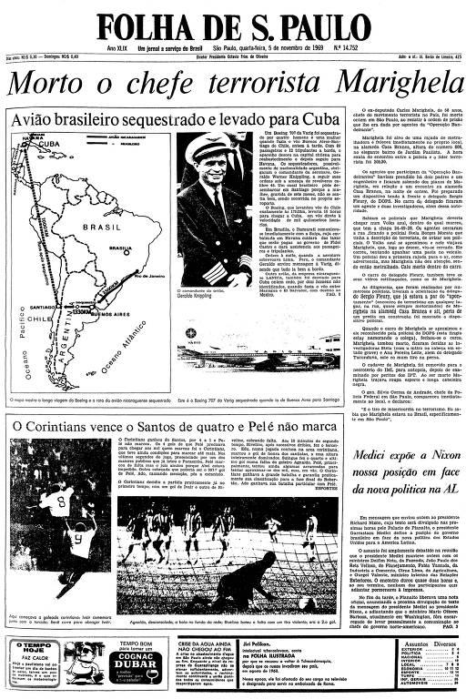 Primeira página da Folha de S.Paulo de 5 de novembro de 1969