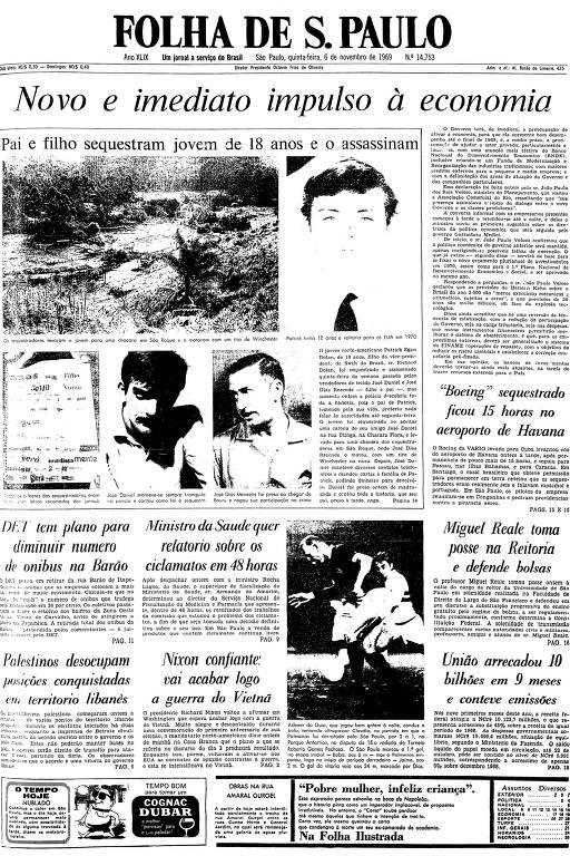 Primeira página da Folha de S.Paulo de 6 de novembro de 1969