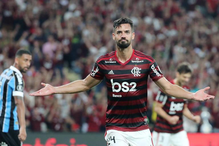 Pablo Marí na vitória do Flamengo sobre o Grêmio, na Libertadores