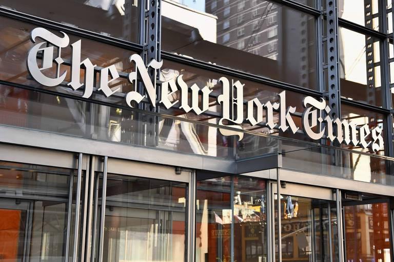 A entrada da redação do jornal The New York Times, em Nova York