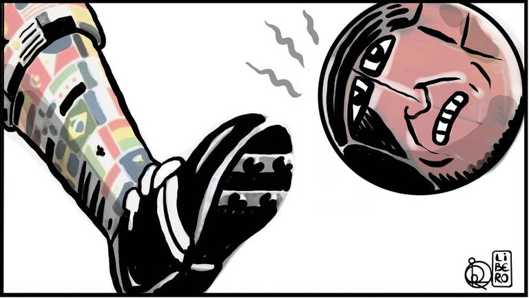 Na ilustração, uma perna vestindo meião estampado com bandeiras de diversos países e chuteira preta está chutando uma bola. A bola tem um rosto e uma expressão agoniada
