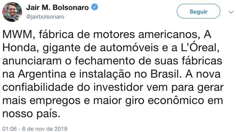 Imagem de um tuíte do presidente Jair Bolsonaro