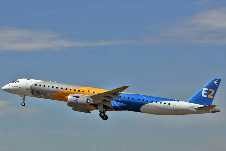 Voo do E195-E2, maior modelo da nova linha de aviões regionais da Embraer