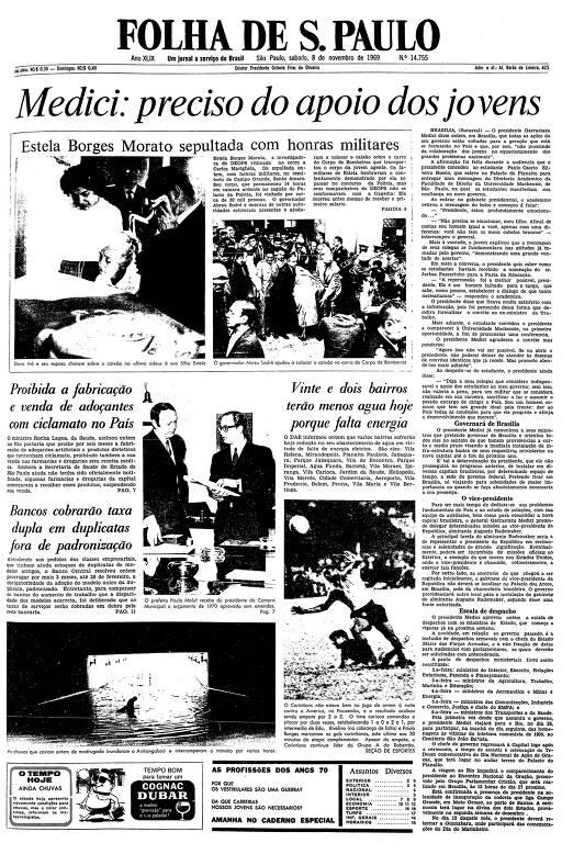 Primeira página da Folha de S.Paulo de 8 de novembro de 1969