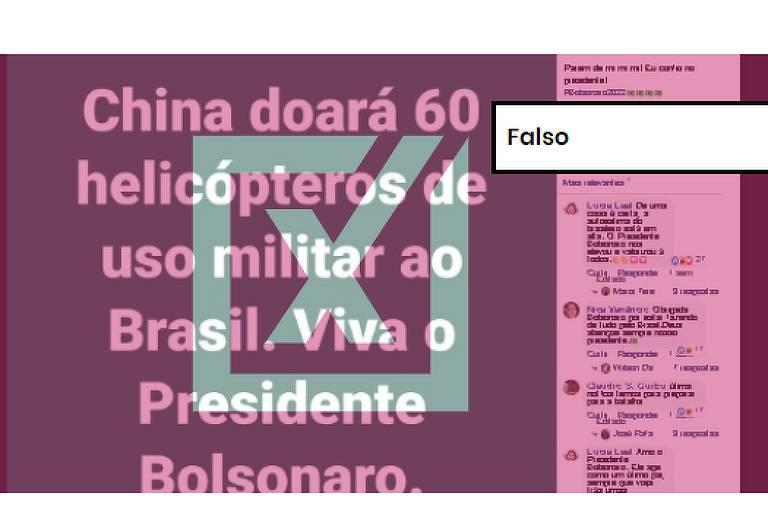 """Publicação no Facebook afirma que """"China doará 60 helicópteros de uso militar ao Brasil. Viva o Presidente Bolsonaro""""."""